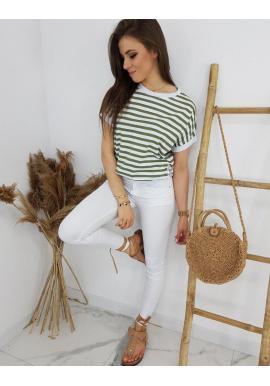 Olivovo-biele klasické tričko s pásikmi pre dámy