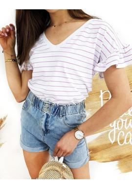 Pásikavé dámske tričko bielo-fialovej farby s volánmi na rukávoch