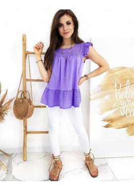 Dámska bavlnená blúzka s dierkovaným vzorom vo fialovej farbe
