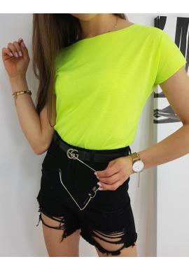 Neónovo žlté klasické tričko s krátkym rukávom pre dámy