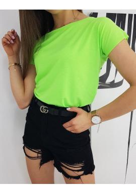 Dámske klasické tričko s krátkym rukávom v neónovo zelenej farbe