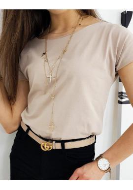 Béžové klasické tričko s krátkym rukávom pre dámy