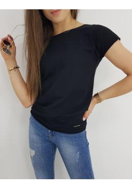 Dámske klasické tričko s krátkym rukávom v čiernej farbe