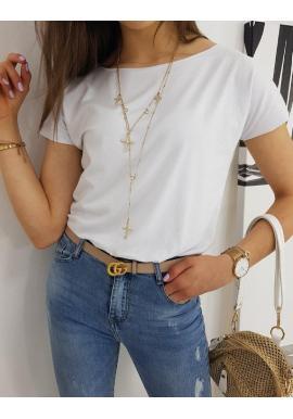 Biele klasické tričko s krátkym rukávom pre dámy
