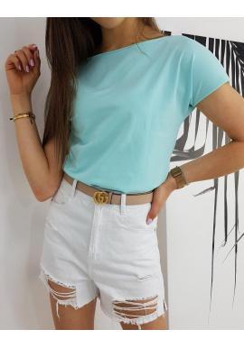 Klasické dámske tričko mätovej farby s krátkym rukávom