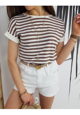 Dámske pásikavé tričko s krátkym rukávom v hnedo-bielej farbe
