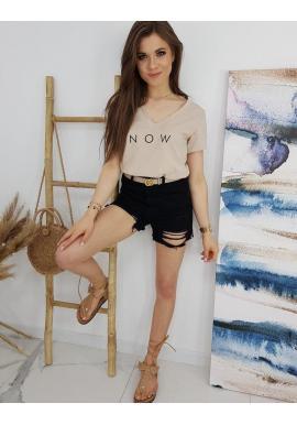 Módne dámske tričko béžovej farby s nápisom NOW