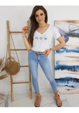 Dámske módne tričko s nápisom NOW v bielej farbe