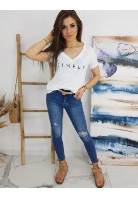 Klasické dámske tričko bielej farby s nápisom SIMPLY