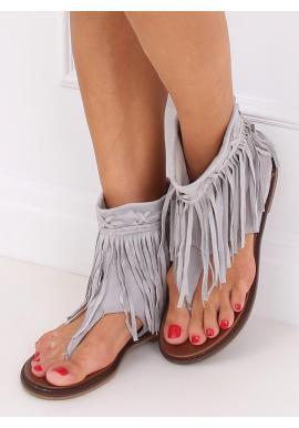 Dámske semišové sandále so zvrškom a strapcami v sivej farbe