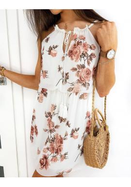 Biele kvetované šaty s viazaním pri krku pre dámy