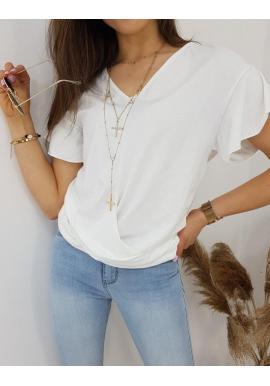 Dámska módna blúzka s krátkym rukávom v bielej farbe