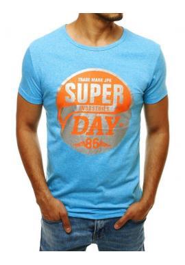 Módne pánske tričko svetlomodrej farby s potlačou