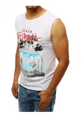 Pánske letné tričko s potlačou v bielej farbe