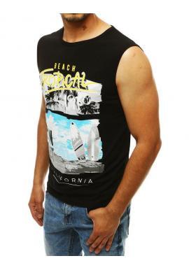 Čierne letné tričko s potlačou pre pánov