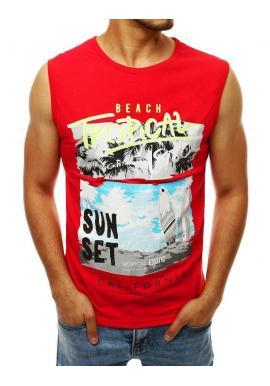 Letné pánske tričko červenej farby s potlačou