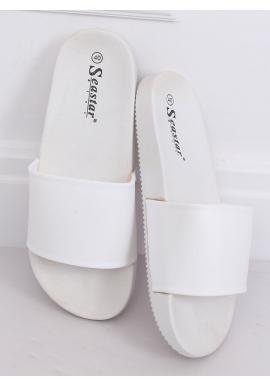 Biele gumené šľapky pre dámy