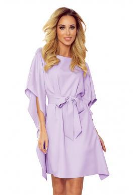 Svetlofialové módne šaty s opaskom pre dámy