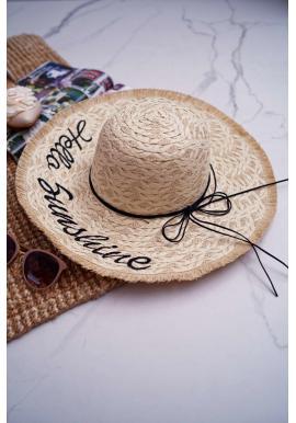 Slamený dámsky klobúk béžovej farby s nápisom Hello Sunshine