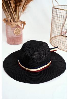 Tmavomodrý módny klobúk na leto so stuhou a zlatou muchou pre dámy