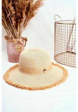 Dámsky plážový klobúk so zdobeným kruhom v béžovej farbe