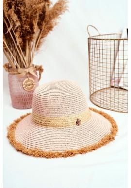 Plážový dámsky klobúk ružovej farby so zdobeným kruhom