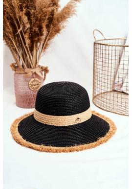Čierny plážový klobúk so zdobeným kruhom pre dámy