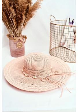 Dámsky slamený klobúk so šnúrkou s korálkami v ružovej farbe