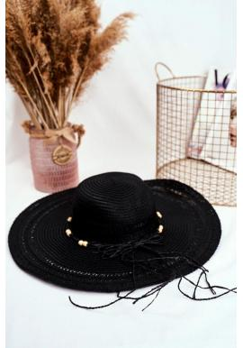 Slamený dámsky klobúk čiernej farby so šnúrkou s korálkami