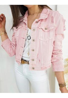 Rifľová dámska bunda ružovej farby s módnymi dierami