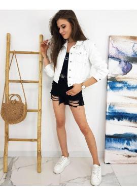 Dámske rifľové bundy s módnymi dierami v bielej farbe