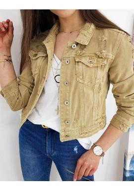 Rifľová dámska bunda béžovej farby s módnymi dierami