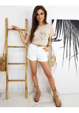 Klasické dámske tričko béžovej farby s potlačou