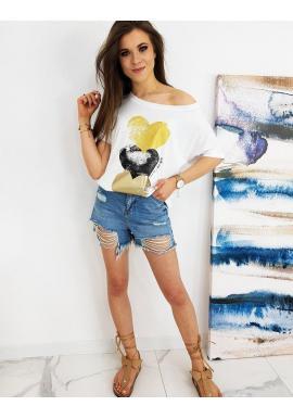 Biele oversize tričko s farebnou potlačou pre dámy