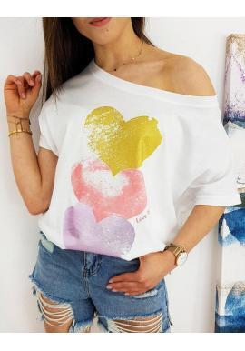 Dámske oversize tričko s farebnou potlačou v bielej farbe