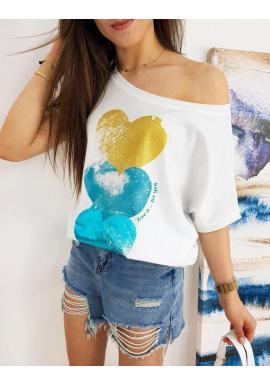 Biele oversize tričká s farebnou potlačou pre dámy