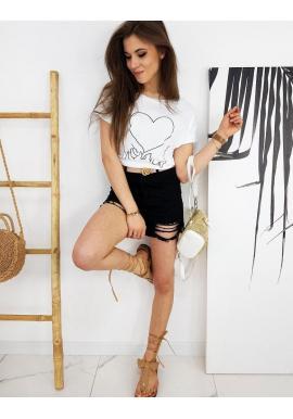 Dámske klasické tričko s potlačou v bielej farbe