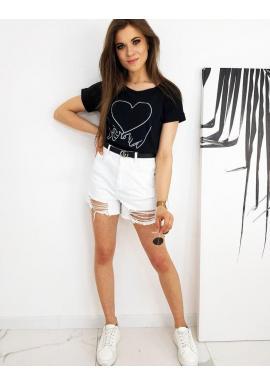 Čierne klasické tričko s potlačou pre dámy