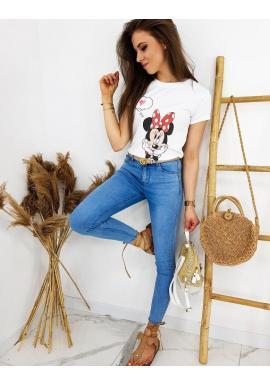Módne dámske tričko bielej farby s potlačou Minnie