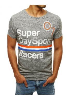 Pánske športové tričko s potlačou v svetlosivej farbe
