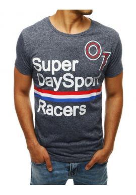 Športové pánske tričko tmavomodrej farby s potlačou