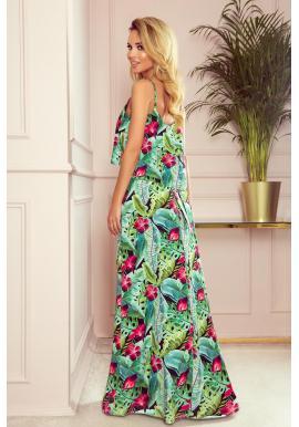 Dlhé dámske šaty zelenej farby s tropickým motívom
