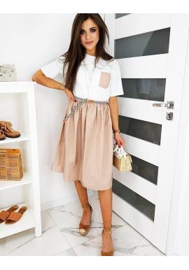 Dámske módne šaty s rozšírenou sukňou v ružovo-bielej farbe