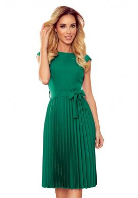 Zelené plisované šaty s krátkym rukávom pre dámy