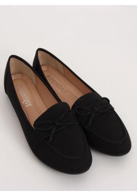 Klasické dámske mokasíny čiernej farby s mašľou
