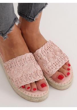 Dámske módne šľapky s vysokou podrážkou v ružovej farbe