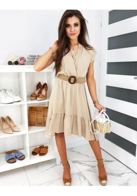 Módne dámske šaty béžovej farby s pleteným opaskom