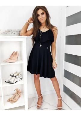 Módne dámske šaty čiernej farby s volánom