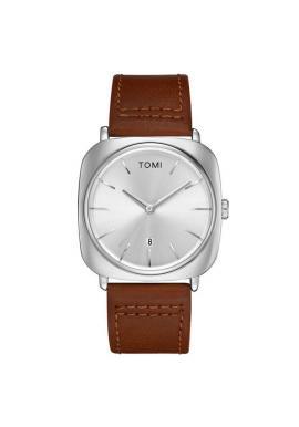 Pánske retro hodinky Tomi v bordovej farbe