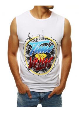 Pánske módne tričko s farebnou potlačou v bielej farbe